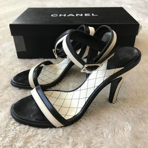 Chanel Sandal Heels Black White Stripe w/ Box 35.5